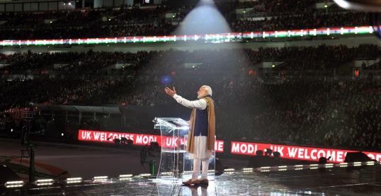 Prime Minister Narendra Modi delivering his address at Wembley Stadium, in London on November 13, 2015.
