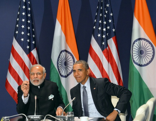 India's Prime Minister, Narendra Modi meeting US President o Barack Obama, on the sidelines of COP21 Summit, in Paris, France