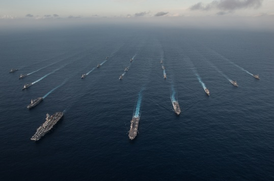 The Ronald Reagan Carrier Strike Group (CSG) is underway in formation with Japan Maritime Self-Defense Force ships during Annual Exercise 16. (U.S. Navy photo)