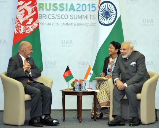 Prime Minister Narendra Modi meeting the President of the Islamic Republic of Afghanistan Mohammad Ashraf Ghani on the sidelines of the SCO Summit, in Ufa, Russia - Prime Minister's website