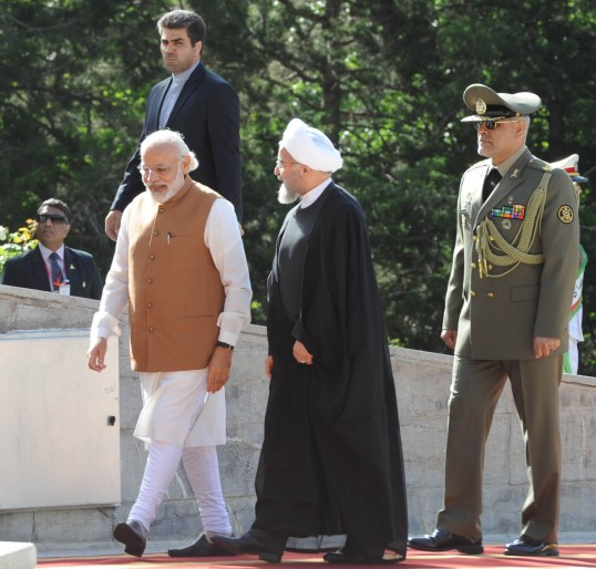 The Prime Minister Narendra Modi being received by the President of Iran Hassan Rouhani, at his ceremonial welcome, at Saadabad Palace, in Tehran on May 23, 2016.