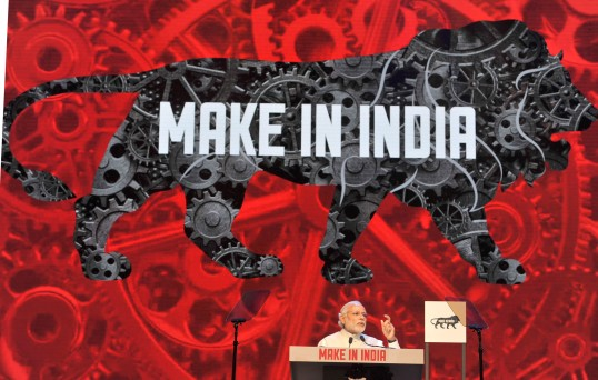 India's Prime Minister Narendra Modi addressing at the inauguration of the Make in India Week, in Mumbai in February 2016.