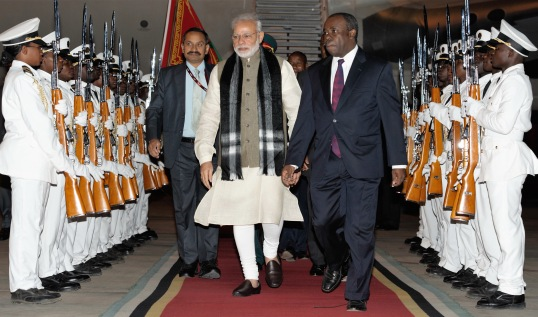Indian Prime Minister Narendra Modi arrives at Maputo, Mozambique on July 07, 2016.