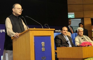 India's Finance Minister and Arun Jaitley speaking at the launch of the India Post Payments Bank branches in New Delhi on January 30, 2017. Photo: PIB